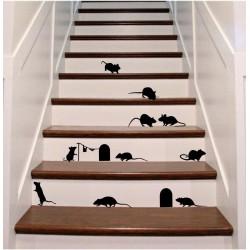 Kleebitavad hiired 13tk ja 2 urgu - kleebitavad seinadekoratsioonid seinakleebised