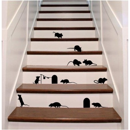 Mouse decal set 13 mice 2 holes - self adhesive wall decoration sticker