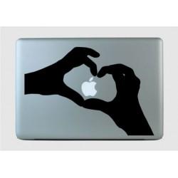 Sõrmedest tehtud süda - sülearvuti kaane disainkleebis