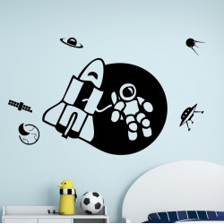 Spaceman In Space For Kids Bedroom wall decoration stickers decals