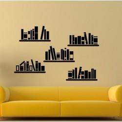 Raamaturiiuli imitatsioonkleebised v2  - kleebitavad seinadekoratsioonid seinakleebised