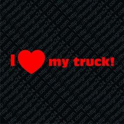 I Love My Truck - car vinyl decal bumper sticker