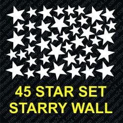 45 stars set for starry wall, self adhesivea stars