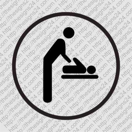 Imikute mähkimise ruumi või ala tähistav kleebitav silt uksekleebis