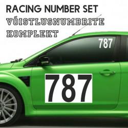 Auto Võistlusnumbrite komplekt, kleebitavad võistlejanumbrid autole