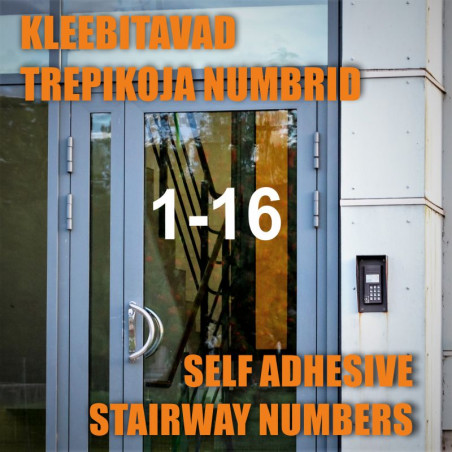 Kleebitavad trepikoja numbrid, trepikoja numbri kleeps korteriühistule