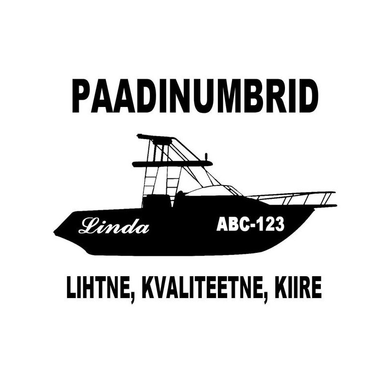 Self Adhesive Boat Registration Number Decals Vinyl Lettering