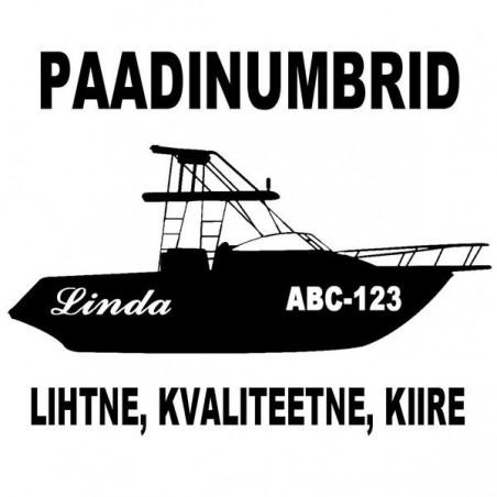 Kleebitavad paadinumbrid laeva registreerimisnumbrid